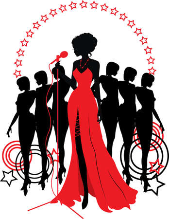 girl in red dress: Women group graphic silhouettes. Different person