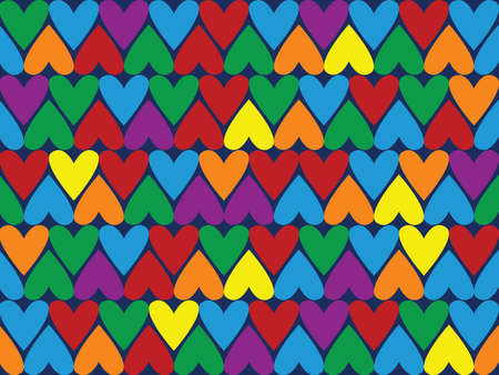 heart tone: Seamless background pattern different color hearts illustration