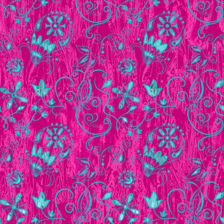 designe: Ornamental abstract floral elements hippie style seamless pattern