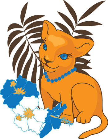 kid vector: Leo ilustraci�n ni�o vector. Animales de la selva para el dise�o