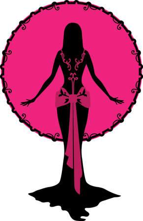 pink and black: Woman and Moon pink black silhouette for design