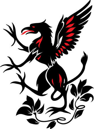 aristocracy: Standing Black Griffin with flower black and red silhouette