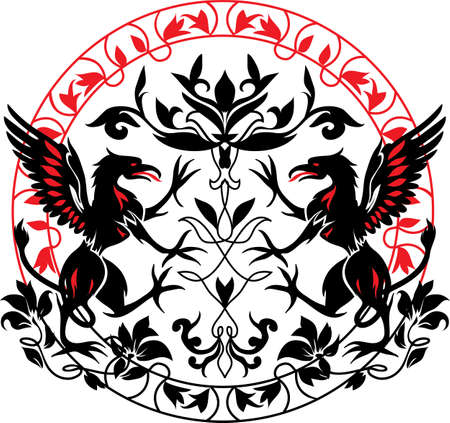 herald: Standing Black Griffin with flower black and red silhouette