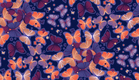 Seamless colorful butterfly pattern illustration for design illustration