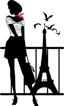 paris france: Retro woman silhouette