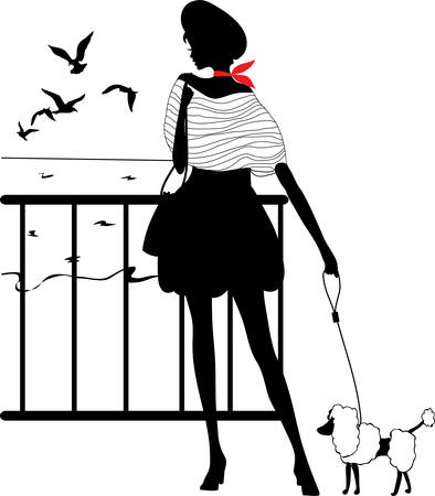 Retro vrouw silhouet