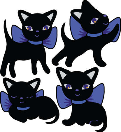 Set of cats silhouettes cartoon. Black and violet Illustration