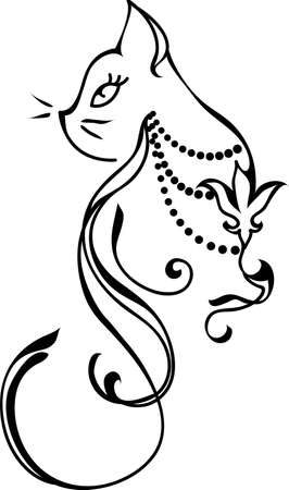 lilies: Silhouette of a cat. Tattoo style design Illustration