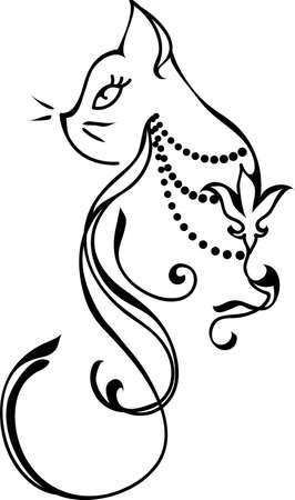 ikony: Sylwetka kota. Styl tatuaż projekt