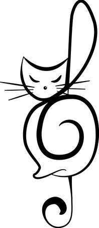 Silhouette of a cat. Tattoo style design Stock Illustratie
