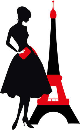 Retro woman red and black silhouette with Eiffel Tower Vettoriali