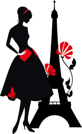 nice france: Retro woman red and black silhouette with Eiffel Tower Illustration