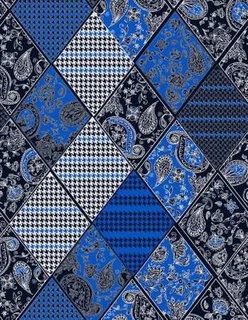 Nahtlose Hintergrund Spitze, Paisley und pied-de-poule, Hahnentritt-Design Standard-Bild - 39218252