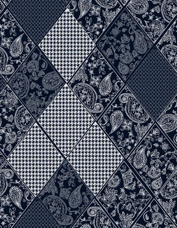 paisley: Seamless background lace, paisley and pied-de-poule, houndstooth design