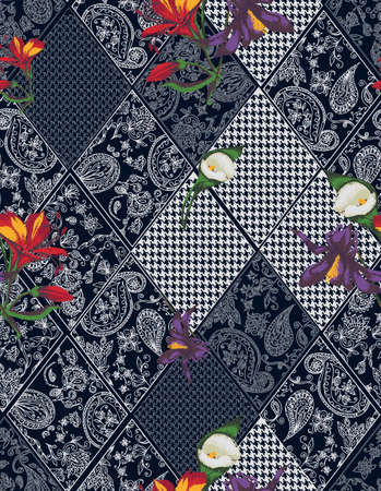 Seamless background lace, paisley and pied-de-poule, houndstooth design