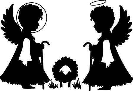 shepherd with sheep: Cute angels silhouettes set catholic, orthodox set with sheep