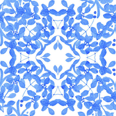 russian tradition: Abstract seamless tradition watercolor pattern for fabric Stock Photo