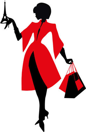 french style: Elegant silhouette. Beautiful woman holding the Eiffel Tower. Shopping in Paris. French Style. Illustration