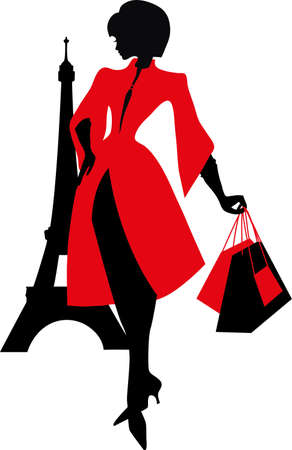 french style: Elegant silhouette. Beautiful woman with the Eiffel Tower. Shopping in Paris. French Style.