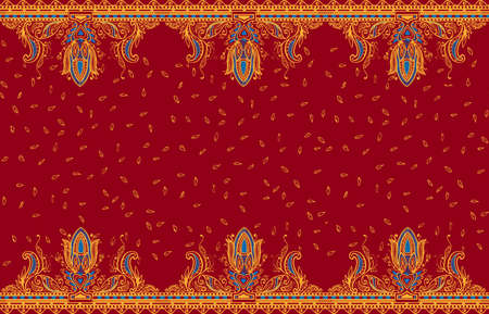 persia: Beautiful ornate border paisley style. Seamless eastern tradition design