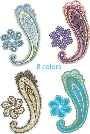 disegni cachemire: Set ornamentale tradizionale. Disegno Paisley. Stile orientale