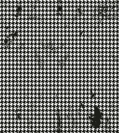 pied: Houndstooth, pied de poule seamless black and white vector pattern. Grunge classic seamless pattern fabric Illustration