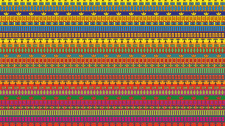 Egyptian stripes with tradition nation elements. Horizontal ornament. Vector Vector