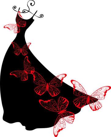 Elegante Silhouette Kleid auf Aufhänger mit Schmetterlingen. Einkaufs Design.