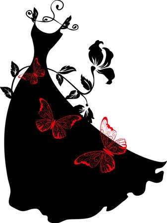 나비와 함께 옷걸이에 우아한 실루엣의 드레스. 쇼핑 디자인. 일러스트