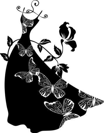 Elegante Silhouette Kleid auf Aufhänger mit Schmetterlingen. Einkaufs Design. Standard-Bild - 41161117