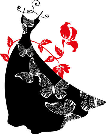 tailor shop: Elegant silhouette dress on hanger with butterflies. Shopping design. Illustration