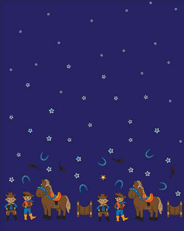 modifiable: Seamless pattern vector illustration of cowboy and horse. This background is easily tile and color modifiable.