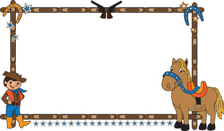 modifiable: Frame vector illustration with cowboy and horse. This background is easily tile and color modifiable.