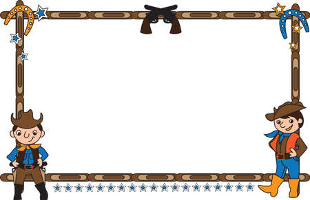 modifiable: Frame vector illustration with cowboys. This background is easily tile and color modifiable.