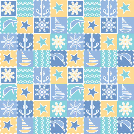 theme: Seamless background for kids. Dolphins, waves, yacht, anchor - sea elements. Fun stylish design. Baby fabric