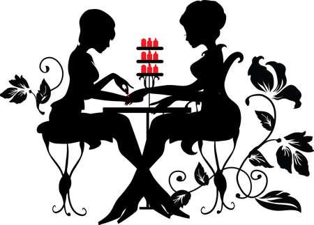 manicura: Dos siluetas de la mujer en el proceso de la manicura. Ilustración vectorial con estilo. Diseño de lujo
