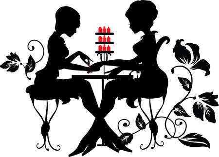 Two silhouettes of woman in manicure process. Stylish vector illustration. Luxury design Çizim