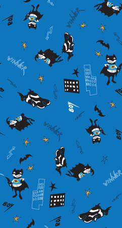 super car: fun cartoon boy vector illustration with stars and car. Seamless pattern for fabric, wallpaper