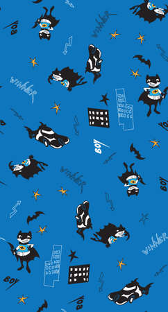 comicbook:   fun cartoon boy vector illustration with stars and car. Seamless pattern for fabric, wallpaper