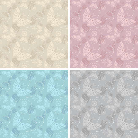 underlinen: Lace white seamless pattern.  Butterfly vector illustration. Fantasy style.