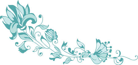 single flower: Decorative corner with flowers and ornate leaves in vintage style