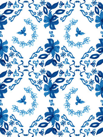 tradition: Abstract seamless tradition watercolor pattern for fabric Stock Photo