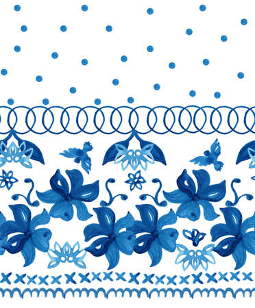 traditions: Abstract seamless tradition watercolor pattern for fabric Stock Photo