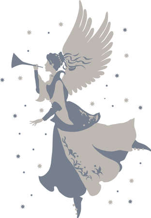 Beautiful angel silhouette with trumpet for design