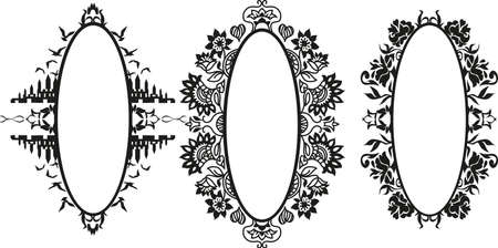 edwardian: Vector Set of  Different Styles Frame Silhouettes Illustration