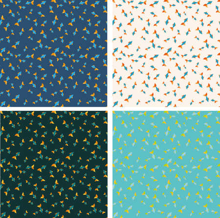decore: Different color fish seamless pattern set. Trending 2016 design. Water style theme