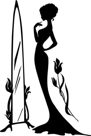 Woman in an evening dress illustration. Elegant lady stand near mirror with flowers. Beautiful silhouette. Isabelle series