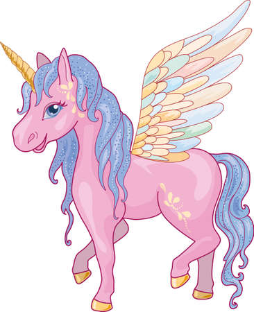 pegaso: Unicornio mágico con alas aisladas en fondo blanco Vectores
