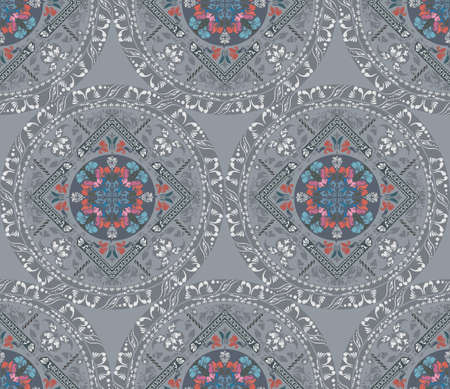 oriental pattern: Floral elements silhouettes. Wedding light circular seamless pattern of traditional motifs and ancient oriental ornaments