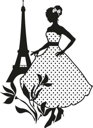 Retro woman red and black silhouette with Eiffel Tower Stock Illustratie